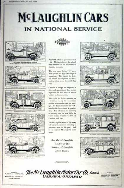 Vintage car advertisements of the 1910s for Mclaughlin motors used cars