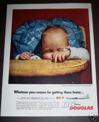 Original Douglas Dc-7 Plane Sleeping Baby Photo (1955)