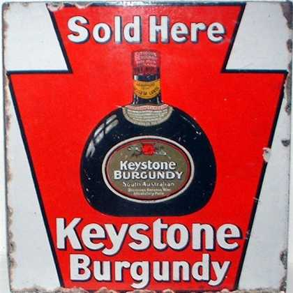 Hall&#8217;s Keystone Burgundy Wine Sign
