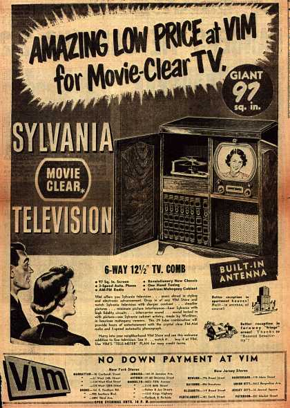 Colonial Radio Corporation's Movie-Clear Television – Amazing Low Price at VIM for Movie-Clear TV (1949)