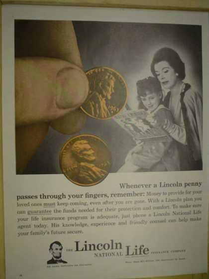 Lincoln National Life Insurance A lincoln penny (1965)