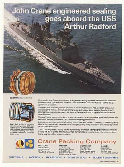 USS Arthur Radford Ship Crane Shaft Seals Photo (1978)
