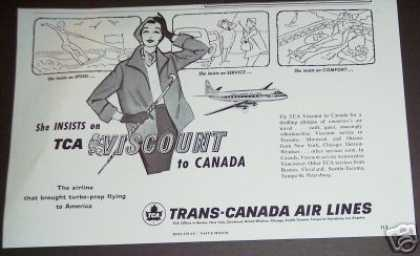 Original Tca Trans Canada Air Lines Airline Art (1956)