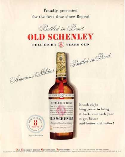 Old Schenley Whisky Bottle (1950)