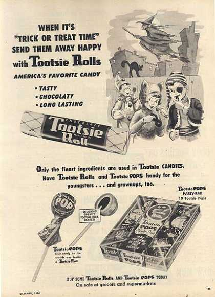"Tootsie Roll's ""When it's 'Trick or Treat Time' send them away happy with (1954)"