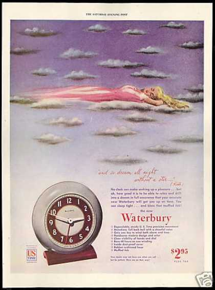 Dreaming Sleeping Woman Waterbury Clock (1946)