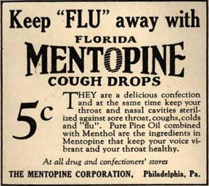 "Mentopine Corporation's Florida Mentopine Cough Drops – Keep ""Flu"" away with Florida Mentopine Cough Drops (1925)"