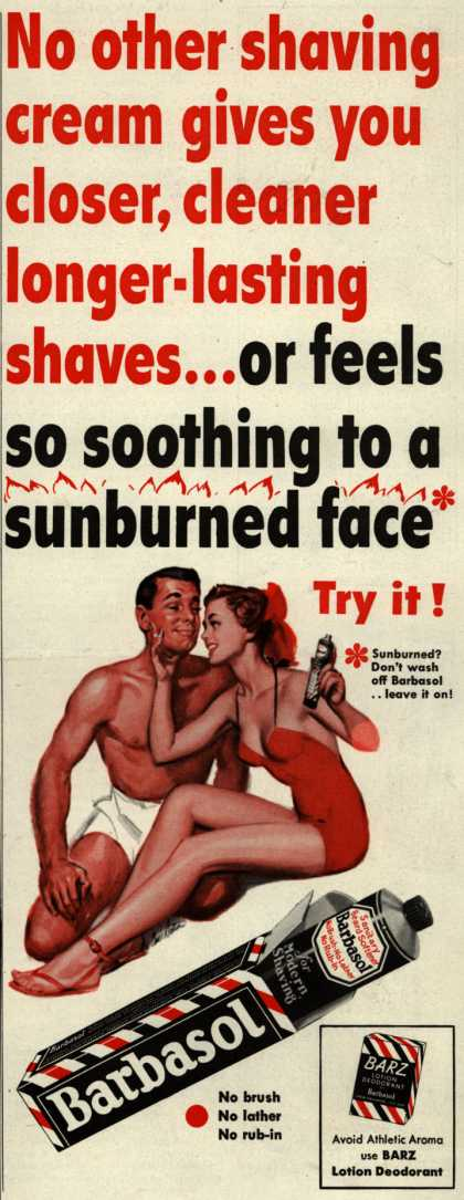 Barbasol – No other shaving cream gives you closer, cleaner longer-lasting shaves... (1951)