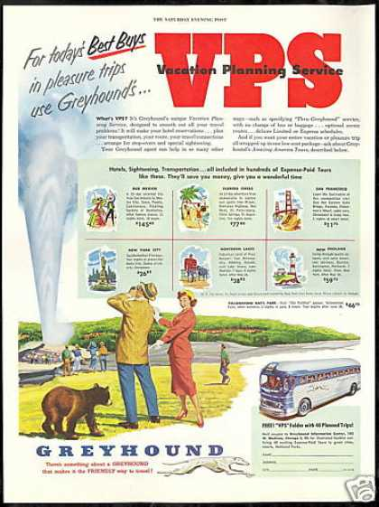 Greyhound Bus Travel Yellowstone Old Faithful (1952)