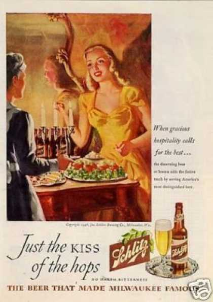 "Schlitz Beer Ad ""When Gracious Hospitality... (1946)"