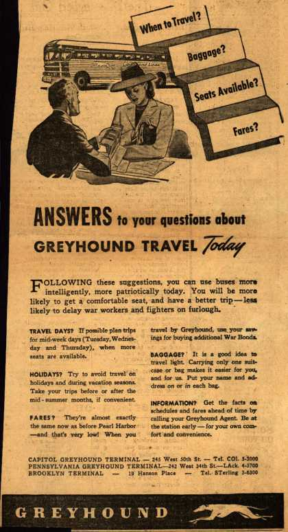 Greyhound – Answers to your questions about Greyhound Travel Today: When to Travel? Seats available? Baggage? Fares? (1945)