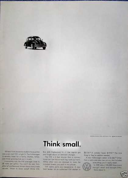 Volkswagen Beetle Bug Far Away Think Small (1960)