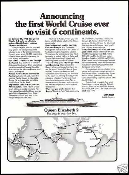 Cunard Queen Elizabeth 2 World Cruise Ship QE2 (1980)