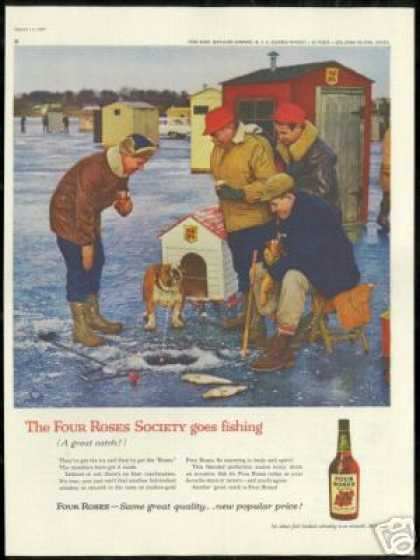 Bulldog Ice Fishing Photo Four Rose Whiskey (1960)