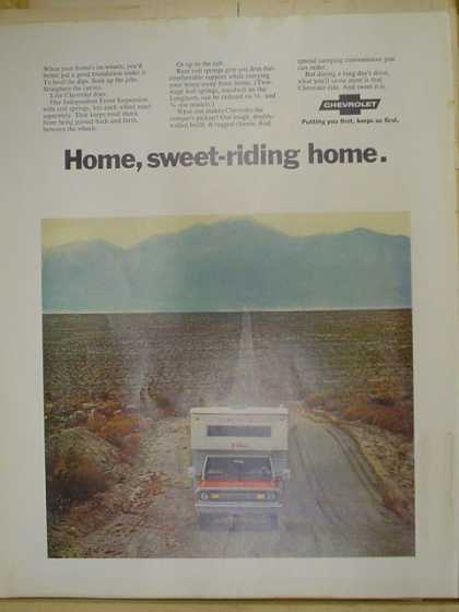 Chevy Chevrolet Pickup trucks. Home, sweet riding home. (1970)