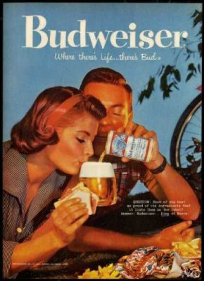 Budweiser Beer Vintage Photo Picnic Bicycle (1959)