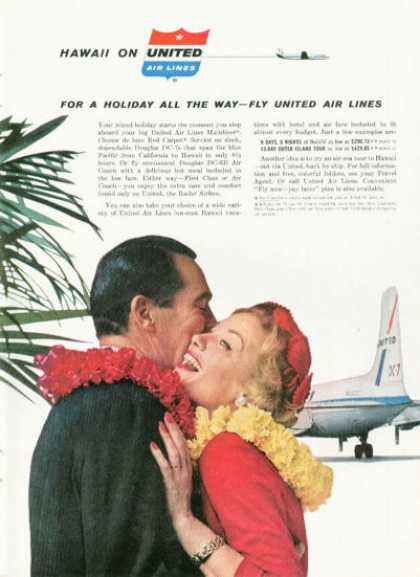 United Airlines Hawaii Ad Dc-7 Lei Greeting (1959)
