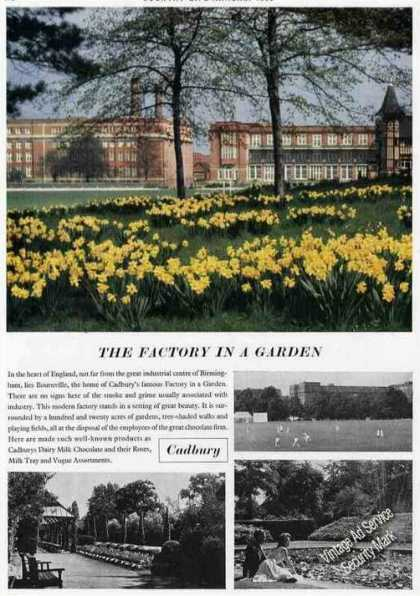 Cadbury Chocolates Factory In a Garden Photos (1955)
