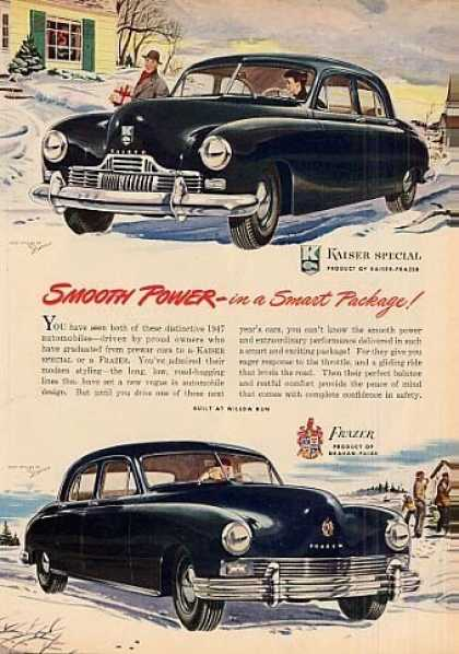 "Kaiser & Frazer Cars Ad ""Smooth Power... (1947)"