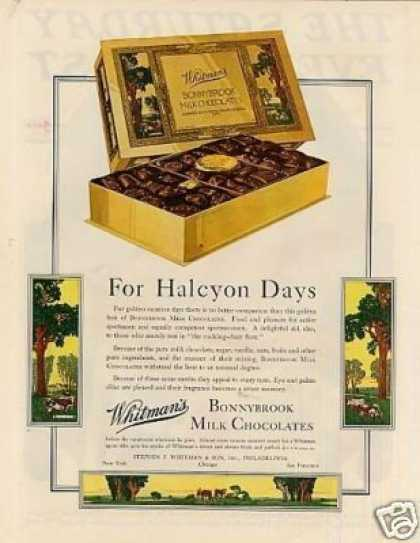 "Whitman's Chocolate Candy Color Ad ""For Halcyon... (1929)"