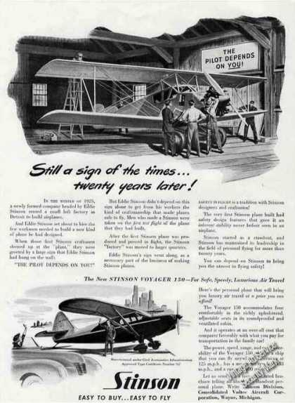 "Stinson Voyager 150 ""The Pilot Depends On You!"" (1946)"