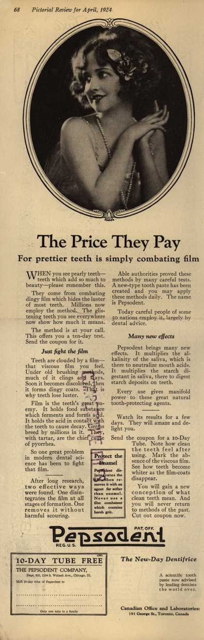 Pepsodent Company's tooth paste – The Price They Pay (1924)