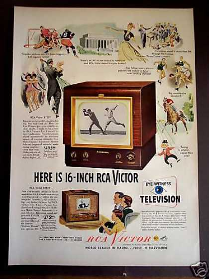 Rca Victor 16 Inch Tv Television (1949)