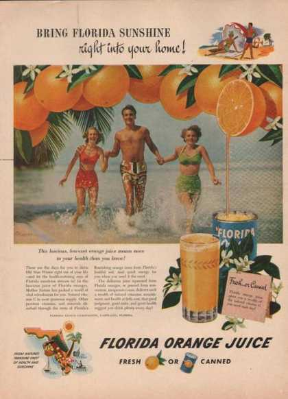 Florida Orange Juice Fresh or Canned (1949)