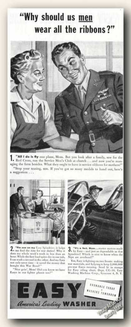 Easy Americas Leading Washer Wwii Theme Ribbons (1943)