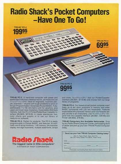 Radio Shack TRS-80 PC-2 PC-3 PC-4 Computers (1983)