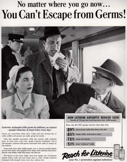 Lambert Pharmacal Company's Listerine – No matter where you go now... You Can't Escape from Germs (1958)