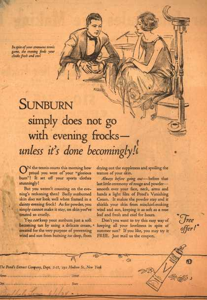 Pond's Extract Co.'s Pond's Vanishing Cream – Sunburn simply does not go with evening frocks- unless it's done becomingly (1924)