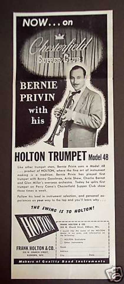 Trumpet Player Bernie Privin Holton Model 48 (1948)