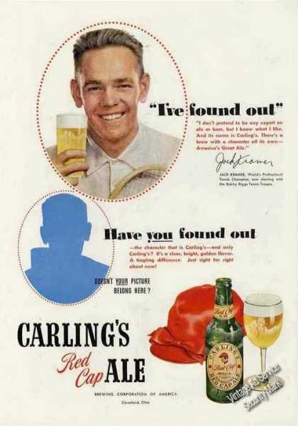Carling's Red Cap Ale Jack Kramer (tennis) (1950)