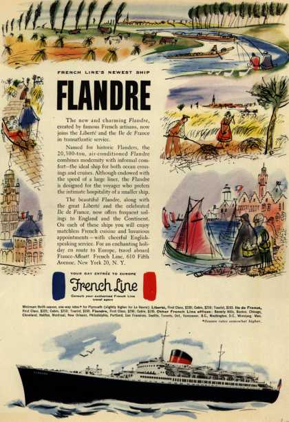 French Line's Flandre – French Line's Newest Ship Flandre (1952)
