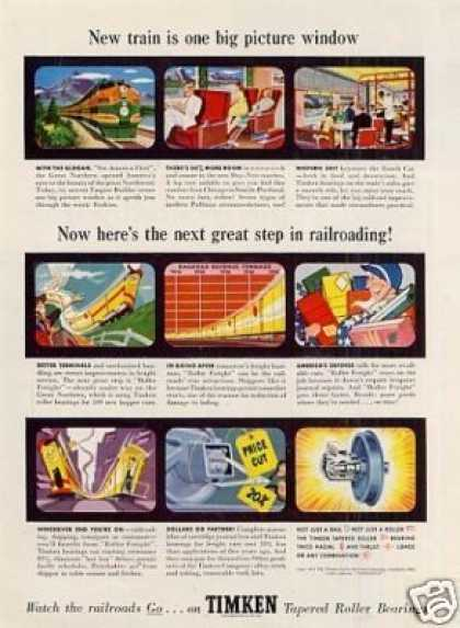 "Timken Roller Bearings Ad ""New Train Is One... (1951)"