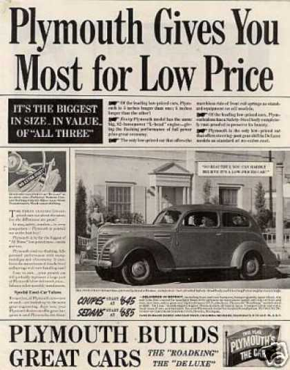 "Plymouth Car Ad ""Plymouth Gives You... (1939)"