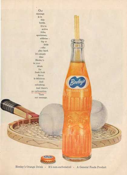 Bireley Glass Soda Bottle Cap Tennis Ad T (1956)