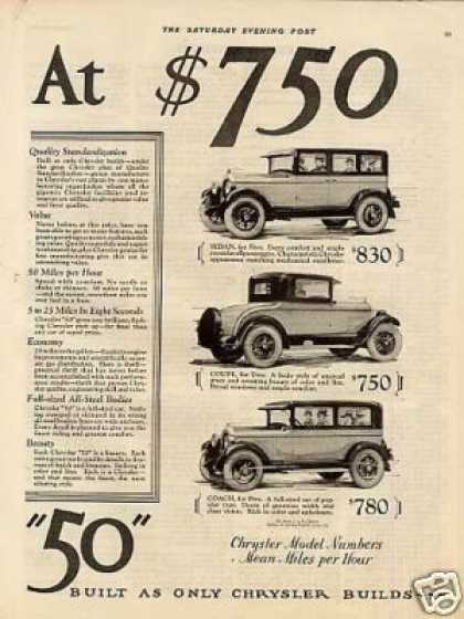 "Chrysler ""50"" Cars 2 Page Ad 3 Models (1926)"