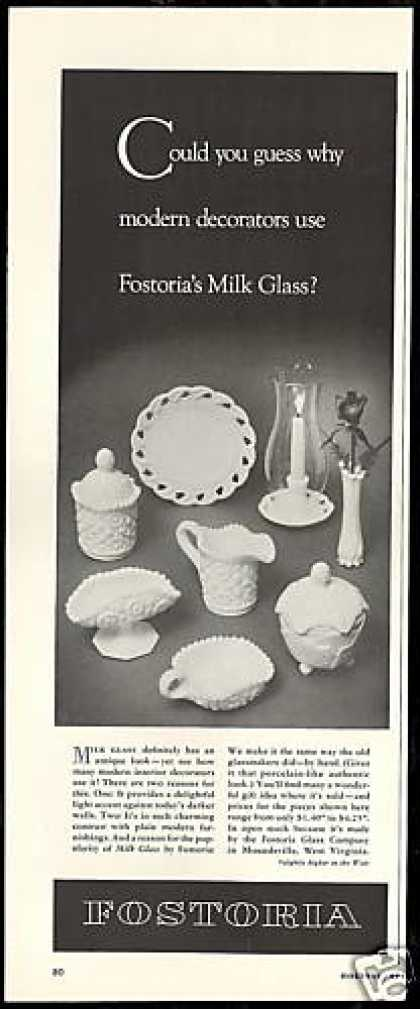 Fostoria Milk Glass Photo Vintage (1954)