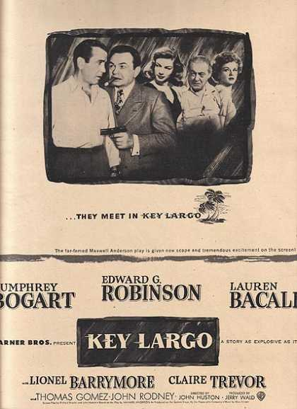 Key Largo (Humphrey Bogart, Edward G. Robinson and Lauren Bacall) (1948)