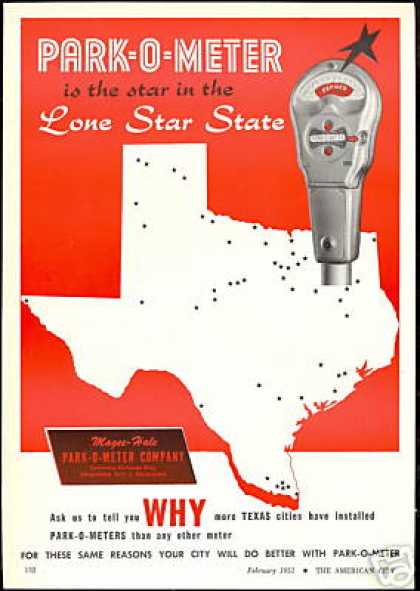 Magee Hale Parking Park O Meter Texas (1951)