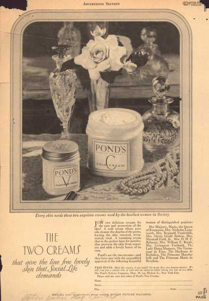 Pond's Extract Co.'s Pond's Cold Cream and Vanishing Cream – The Two Creams that give the line free lovely skin that Social Life demands (1925)