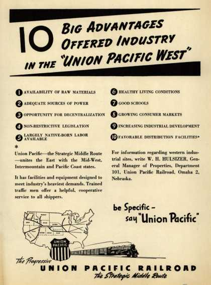 "Union Pacific Railroad's Strategic Middle Route – 10 Big Advantages Offered Industry in the ""Union Pacific West"" (1946)"
