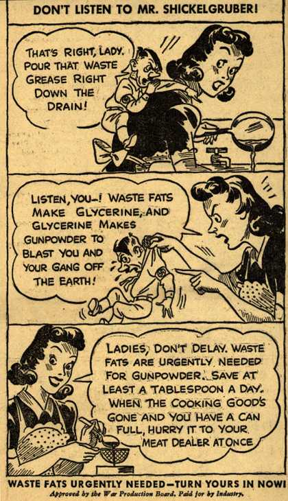 War Production Board's Waste Fats – Don't Listen To Mr. Shickelgruber (1943)