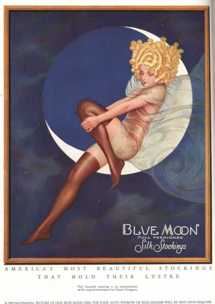 Blue Moon Silk stockings, Womens Glamour Pin-Ups Nylons Hosiery, USA (1920)