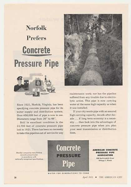 Norfolk Virginia Prefers Concrete Pressure Pipe (1955)