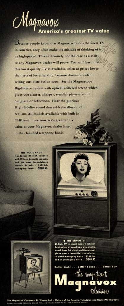 Magnavox Company's 21 inch televisions – Magnavox America's greatest TV value (1953)