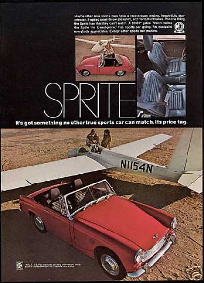 Red MG Sprite Car Glider Plane Photo (1969)