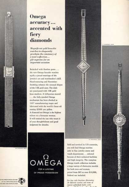 Omega Womens Watch Diamond 3 Styles Print (1964)